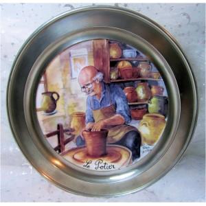 Assiette en étain antique 95% et porcelaine Terra Vecchia le Potier