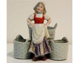 Moutardier Femme Alsacienne Porcelaine Biscuit Ancien 1900 Salerons Salière